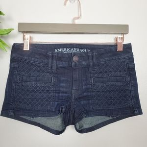 American Eagle Shortie Dark Wash Quilted Shorts 2